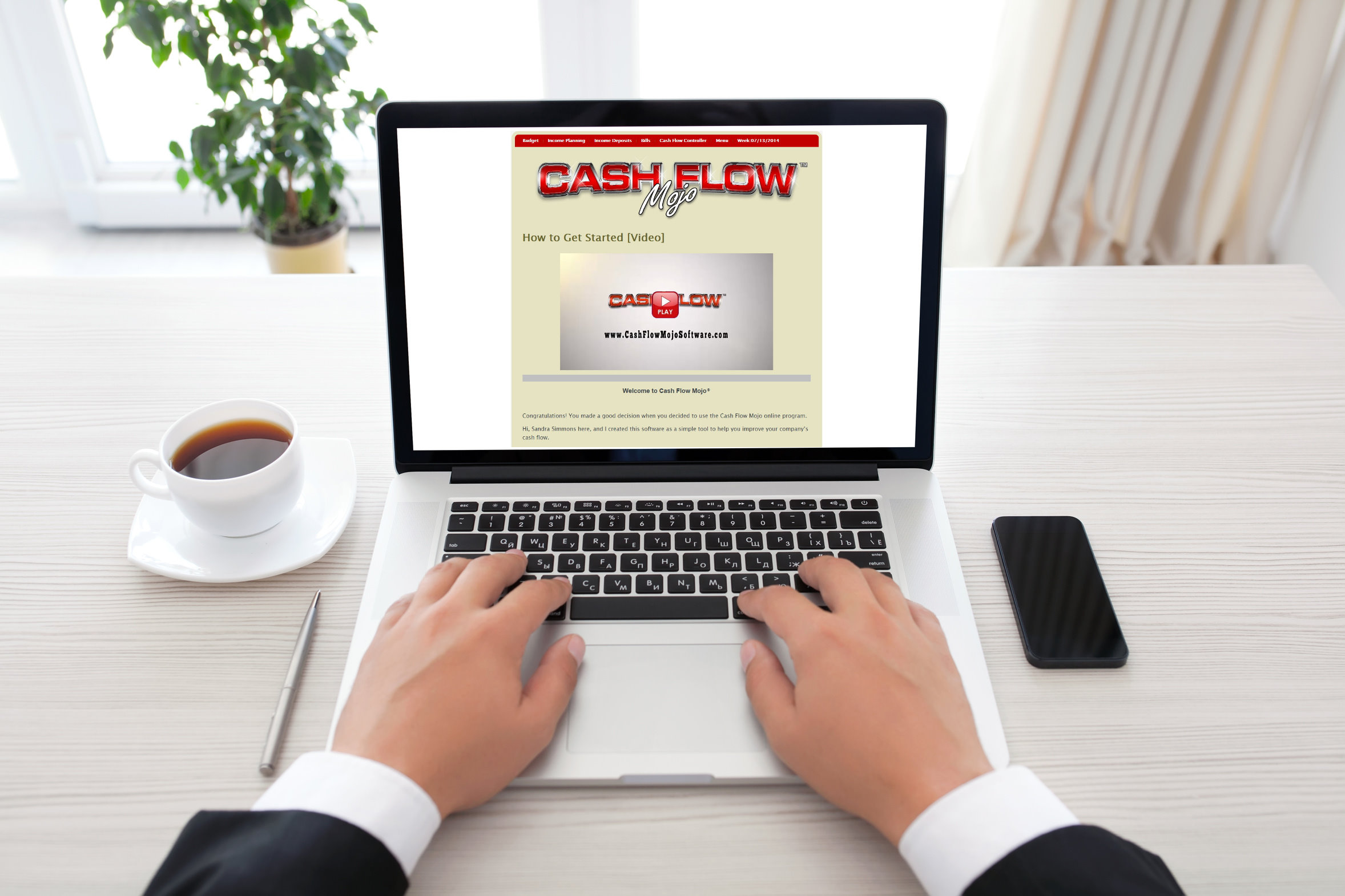 computer with cash flow mojo software onscreen