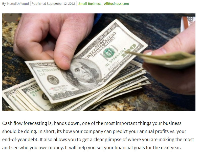 Cash Flow Forecasting Article Snippet